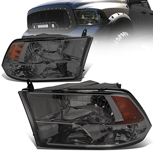 For Dodge Ram Pair of Smoked Housing Amber Reflector Quad Headlight Lamp - 4th Gen DS/DJ/D2