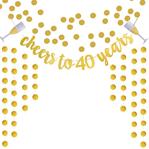 Glittery Gold Cheers To 40 Years Banner For 40th Birthday Wedding Anniversary Party Decoration