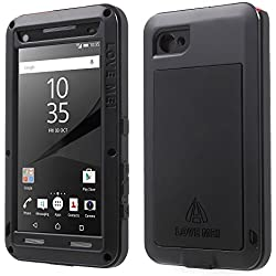Sony Xperia Z5 Compact Case, Feitenn Shockproof Hard Military Aluminum Metal Heavy duty Armor Gorilla Glass Dust/Dirt/Snow Proof Water resistant Case For Xperia Z5 mini Outdoor sport use (Black)