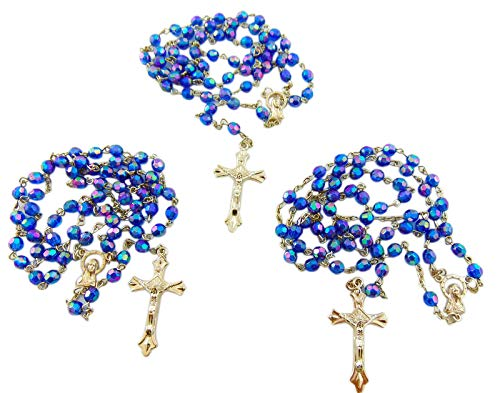 (Westman Works Rosary Bulk Lot Acrylic Blue Faceted Communion for Students Classroom Rosary Set, 10 Pack)