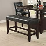 Wood Based High Bench With Tufted Seat Black and Brown