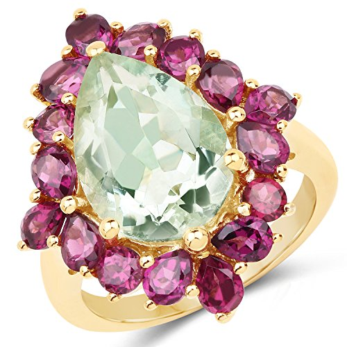 - 925 Sterling Silver & 14K Yellow Gold Plated Genuine Green Amethyst and Rhodolite Ring (7.21 Carat) Size 8