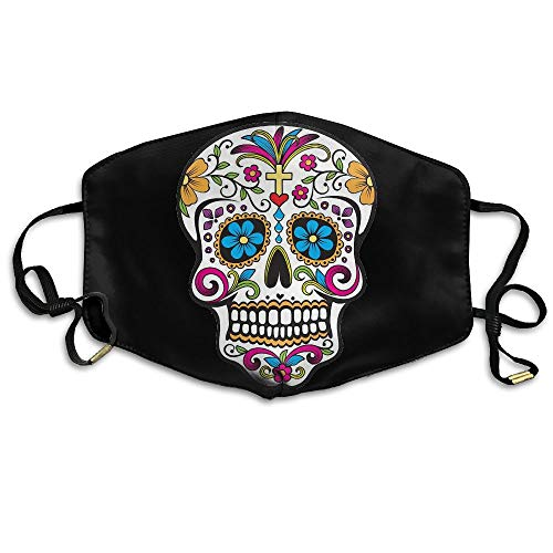 Day of Dead Sugar Skull Anti Dust Face Mask,Reusable Warm Windproof Mouth Mask