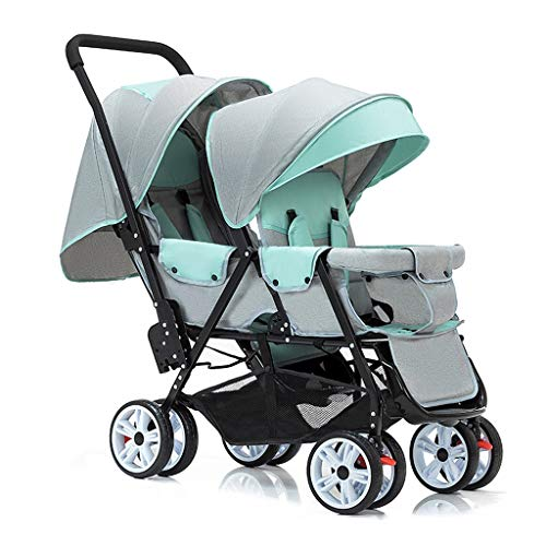 Double Stroller, Twin Tandem Baby Stroller, 5 Points Safety Belts, Foldable Design for Easy Transportation (Color : Green)