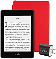 Kindle Paperwhite Essentials Bundle including Kindle Paperwhite - Wifi, Ad-Supported, Amazon Leather Cover, an