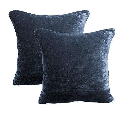 Fascination 2Pc Royal 100% Cotton Velvet Pillow Shams Zipper Top 20'' X 20'' Navy Blue (Velvet Shams Navy Pillow Blue)