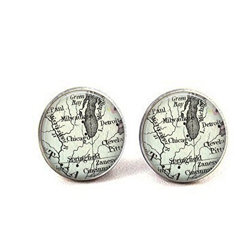Chicago Great Lakes Vintage Map Cufflinks - Detroit and Chicago - Milwaukee - Lake Michigan Map Jewelry