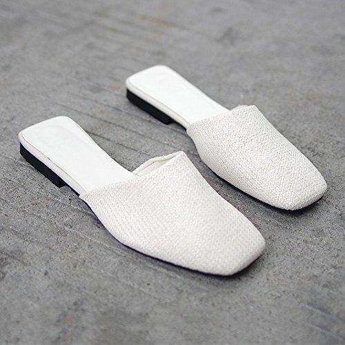 DHG Ropa de Moda Zapatos Perezosos Casual Salvaje Baotou Zapatos Planos Sandalias,Blanco,38