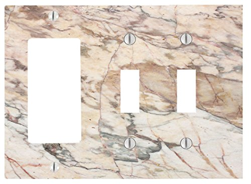 Dimmer 1 Wide (Marble Background Pattern 3 Gang, 2 Toggle, 1 Dimmer, Decorator Electrical Switch Wall Plate (6.56 x 4.69in))