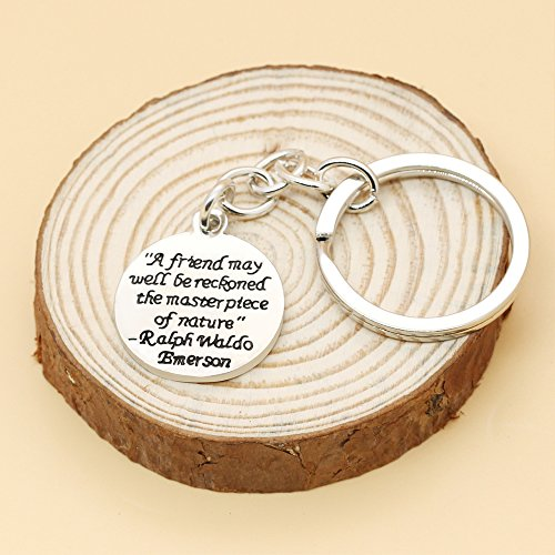 A friend may well be reckoned the masterpiece of nature - Double Side Key Chain Ring BBF Best Friend Gift Photo #7