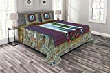 Lunarable Country Bedspread Set King Size, Brick House with Window Shutters and Flowers Mediterranean Style Print, Decorative Quilted 3 Piece Coverlet Set with 2 Pillow Shams, Maroon Brown Green