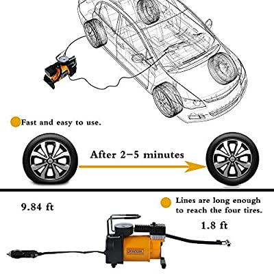 BHTOP Air Compressor,12V DC Portable Digital Tire Inflator,150-PSI MINI Compressor With 4 Adaptors for Car, Truck, SUV Tires, Dinghy, Air Bed etc: Home Improvement