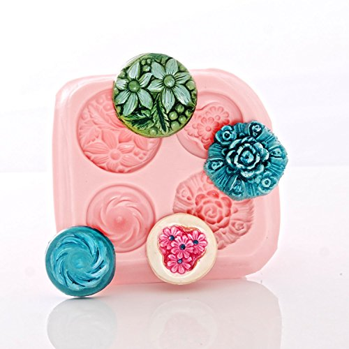 Flower Vintage Style Button Silicone Mold Food Safe Fondant, Chocolate, Mint,Candy, Resin, Polymer Clay, Jewelry, Craft Mold