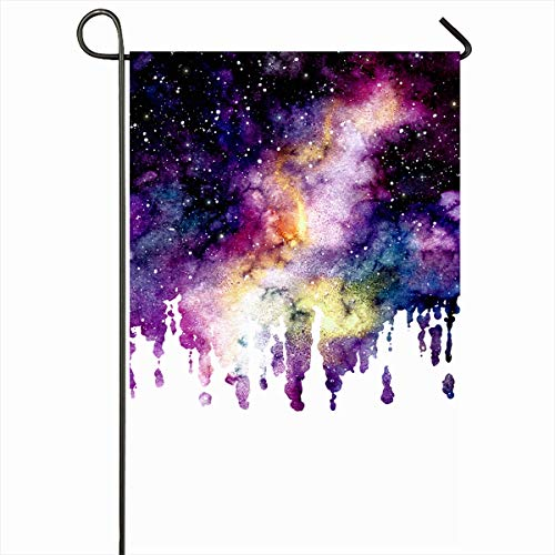 Ahawoso Garden Flag 12x18 Inches White Paint Watercolor Splashes Starry Sky Nebula Abstract Astrology Celestial Cloud Cosmic Cosmos Outdoor Decorative Seasonal Double Sided Home House Yard Sign ()