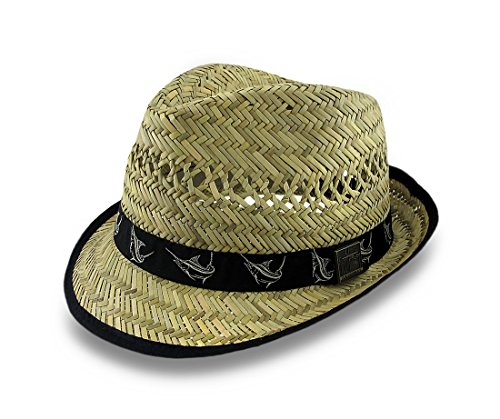 2b8eb3c3912 Guy Harvey 50 s Style Straw Fedora Hat W  Black Marlin Band at Amazon Men s  Clothing store