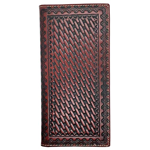 Men's Genuine Leather Wallet Long Bifold Western Wallet for Men Basketweave Plain Tooling - Wallet Mens Western