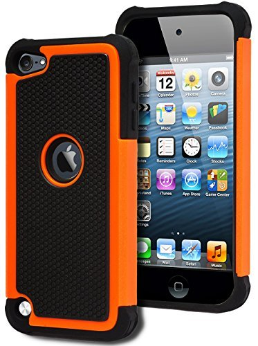 iPod Touch 5 & 6 Case, Bastex Heavy Duty Hybrid Protective Case - Soft Black Silicone Cover with (Ipod Touch Orange)