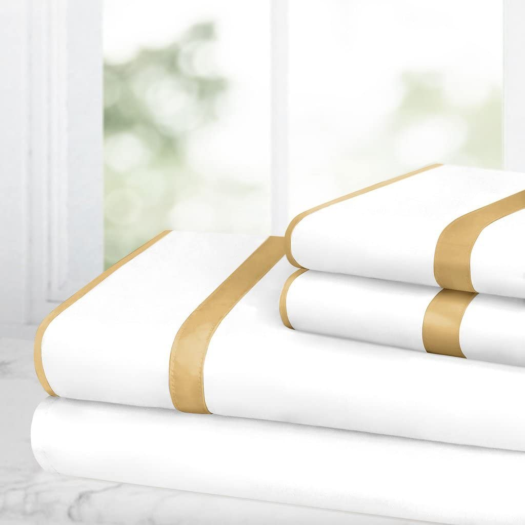 Egyptian Luxury Bed Sheet Set – 1500 Hotel Collection w/Beautiful Satin Band Trim - Ultra Soft Wrinkle & Fade Resistant Microfiber, Hypoallergenic 4 Piece Set- Queen - White/Gold