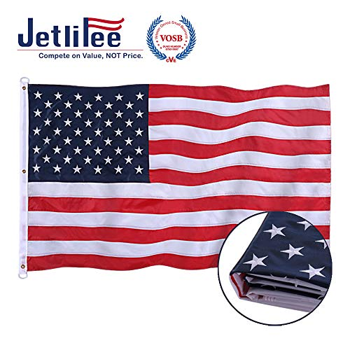 Jetlifee American Flag 5x8 Ft - by U.S. Veterans Owned Biz. Embroidered Stars, Sewn Stripes, Brass Grommets US Flag.Outdoors Indoors USA Flags Polyester 5 x 8 Foot.