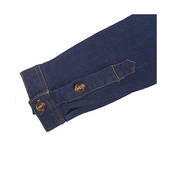 HaoDuoYi Womens Bow Tie Neck Button Down Denim Long Sleeve Shirt