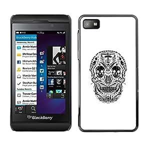 Be Good Phone Accessory // Dura Cáscara cubierta Protectora Caso Carcasa Funda de Protección para Blackberry Z10 // White Black Skull Cross Christian Death
