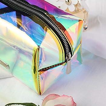 MAKE UP BAG Black Hologram glitter vinyl with white irridescent bat