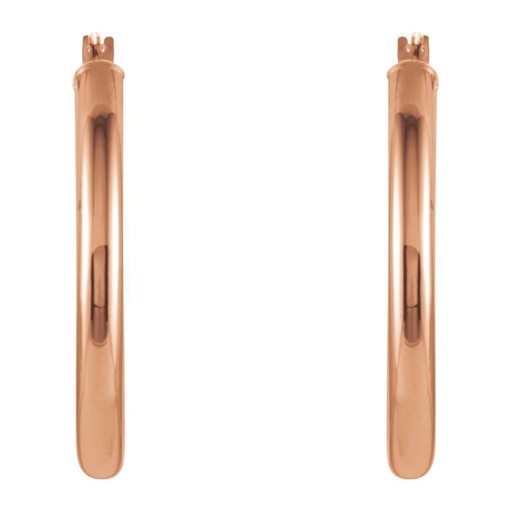 14K Rose 20mm Oval Hoop Earrings