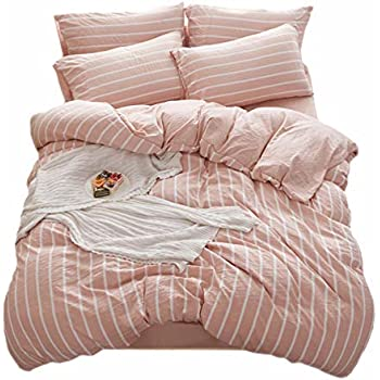 DOLDOA Washed Cotton Duvet Cover Queen (90x90 inch),Pink Striped Comforter Cover Lightweight and Soft Bedding Set,3 Piece (1 Duvet Cover + 2 Pillow Shams), Zipper Closure and Easy Washing