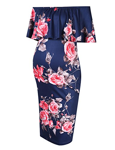 Coolmee Women's Maternity Dress Off Shoulder Casual Maxi Dress (M, Navy Flowers)