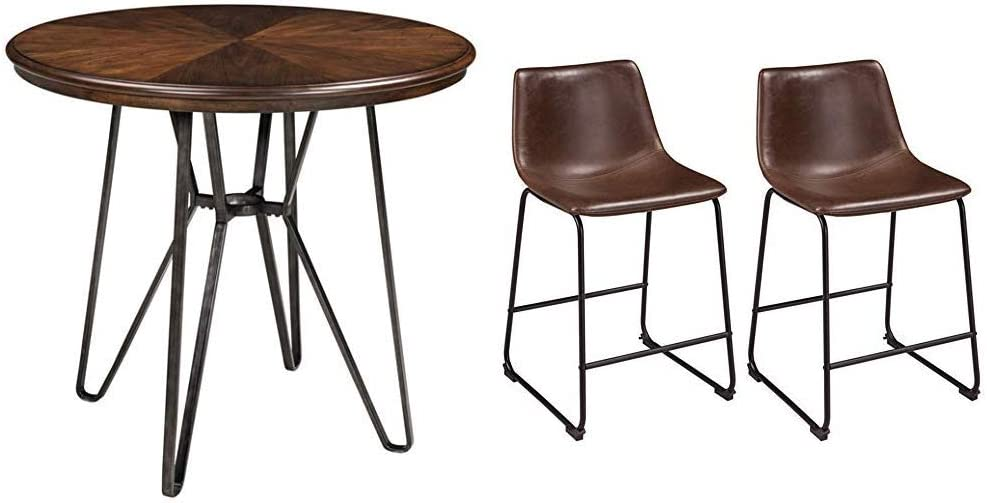 Signature Design by Ashley - Centiar Dining Table - Counter Height - Mid Century Style - Two-Tone Brown & Centiar Upholstered Barstool - Set of 2 - Casual Style - Two-Tone Brown