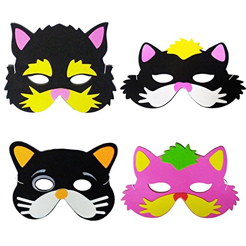 Discount Party Supplies Online (Blue Orchards Kitten Party Foam Masks (12), Kitten Party Supplies, Birthday Party)