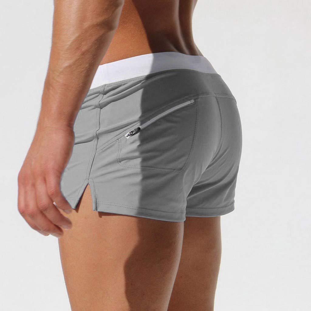 PASATO Plus Size Men Breathable Bikini Shorts Trunks Pants Solid Swimwear Beach Shorts Slim Wear