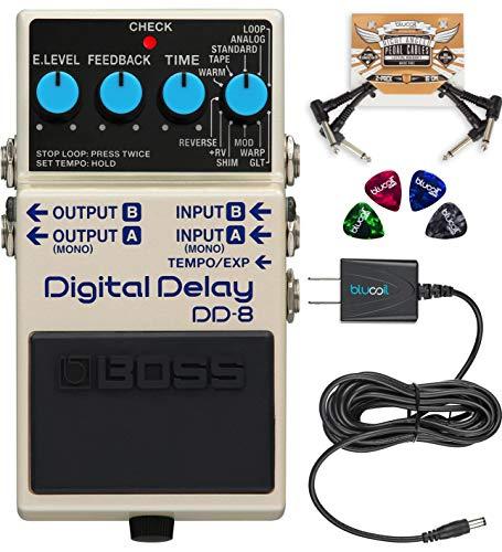 BOSS DD-8 Digital Delay Guitar Effects Pedal Bundle with Blucoil
