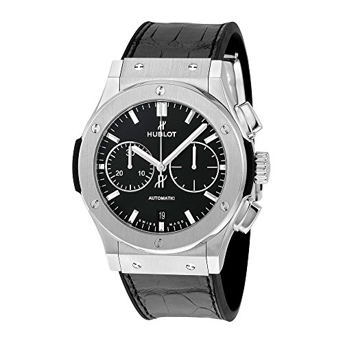 Hublot Classic Fusion Automatic Chronograph Black Dial Black Leather Mens Watch 521.NX.1171.LR