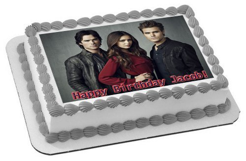 VAMPIRE DIARIES Edible Birthday Cake OR Cupcake Topper - 7.5 x 10' rectangular inches