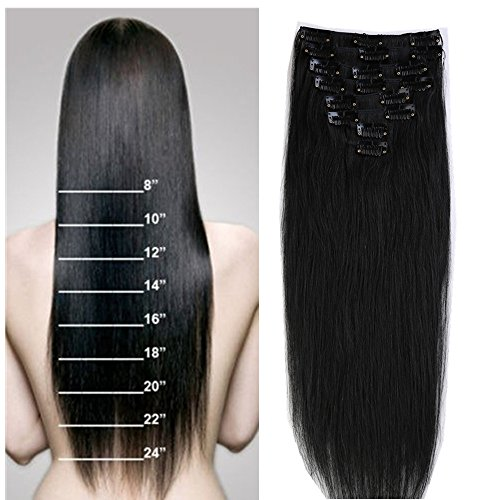 S-noilite 16'-22' 8PCS Clip In Hair Extensions Human Hair 100% Remy Human...