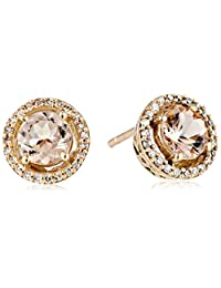 10K Rose Gold Round with Diamond Halo Earrings (1/10 cttw)