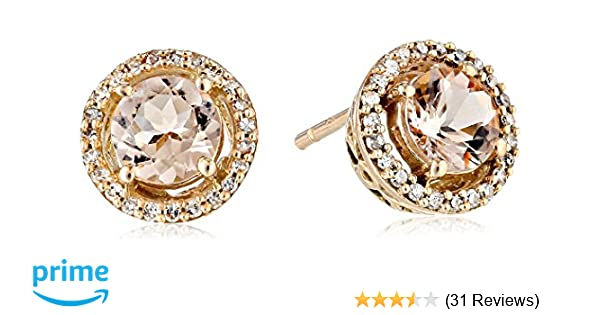 ccc8cdcb16e3ef Amazon.com: 10K Rose Gold Morganite Round with Diamond Halo Stud Earrings  (1/10 cttw): Jewelry