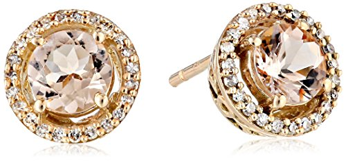 10K Rose Gold Morganite Round with Diamond Halo Stud Earrings (1/10 cttw)