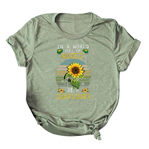 XVSSAA Ladies Solid Color Short Sleeve T-Shirt, Women's Sunflower Letter Print Leisure Plus Size Top Tee Army Green