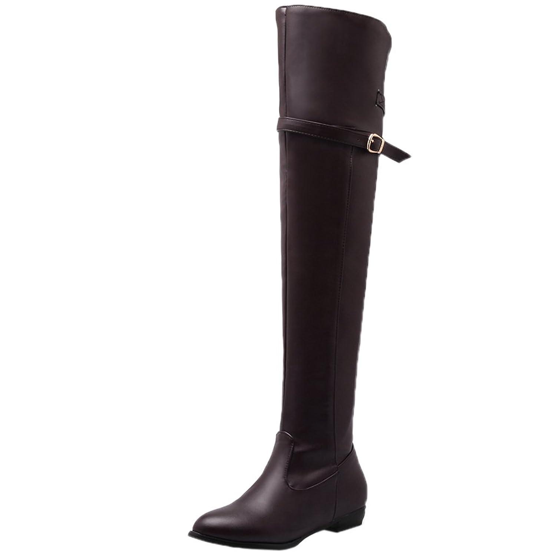 Unbekannt Oberschenkel Stiefel Damen Bequem Schnalle Herbst Winter Flach  Overknee Stiefel von Bigtree Beige 40 EU 68cbf3a11c