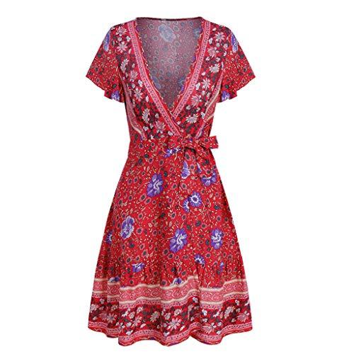 YKARITIANNA Womens Sexy Casual High Waist Bohemia Print V Neck National Style Midi Dress