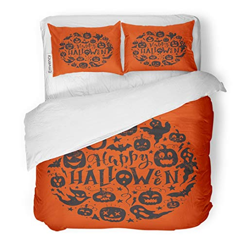 Tarolo Bedding Duvet Cover Set Saying Hand Lettering Scary Pumpkins Ghosts and Bat Happy Halloween Perfect Sketch 3 Piece Twin 68