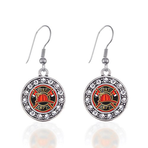 Fire Department Badge Circle Charm Earrings French Hook Clear Crystal Rhinestones