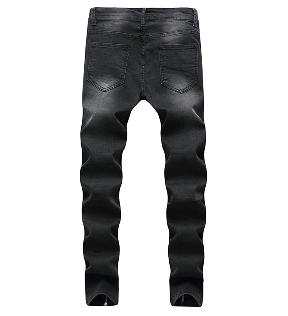 LOIBASO Mens Ripped Skinny Distressed Destroyed Slim Fit Stretch Biker Jeans