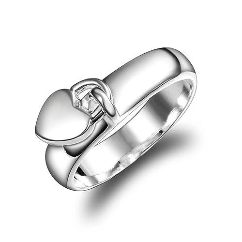 Anillo de compromiso chapado en plata para boda, regalo para mujer, niña (talla