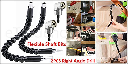 Luebel 2PCS Right Angle Drill and Flexible Shaft BITS Extension Screwdriver BIT Holder