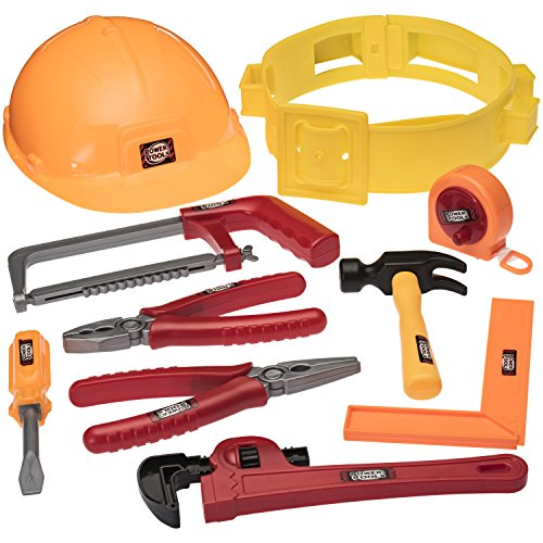 Prextex Little Handyman Kids Toy Tool Belt Set with Accessories and Adjustable Hard Hat -