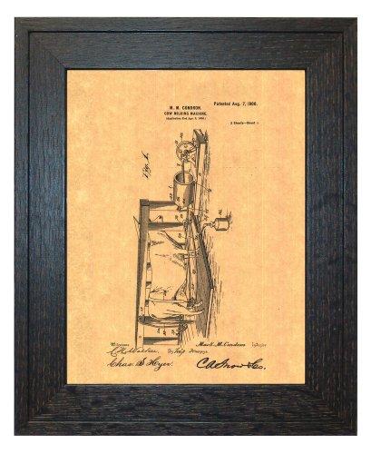 "Cow-milking Machine Patent Art Print in a Rustic Oak Wood Frame (16"" x 20"")"