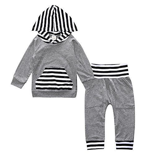 new Toddler Baby Boy Girl Hooded Striped Grey Long Sleeve Pocket Front Pants Set
